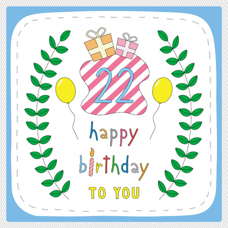 Happy Birthday Card With 22nd Birthday And For 22 Years Anniversary