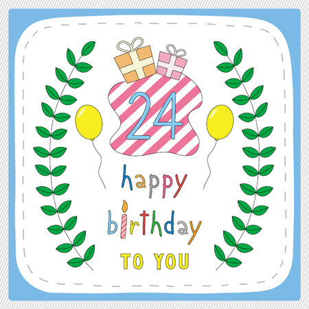 20 24 years old: Happy birthday card with 24th birthday and for 24 years anniversary celebration.