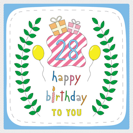 eight year old: Happy birthday card with 28th birthday and for 28 years anniversary celebration. Illustration