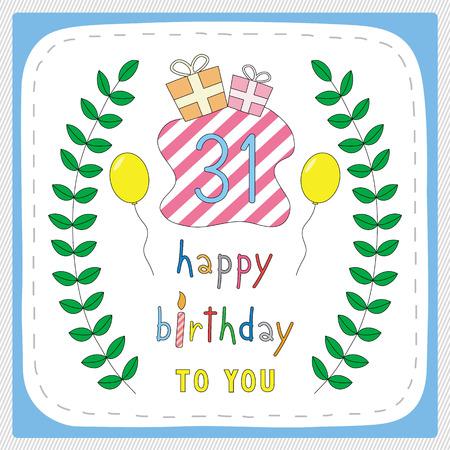 one year old: Tarjeta del feliz cumplea�os con 31 a�os y desde hace 31 a�os de aniversario de la celebraci�n. Vectores