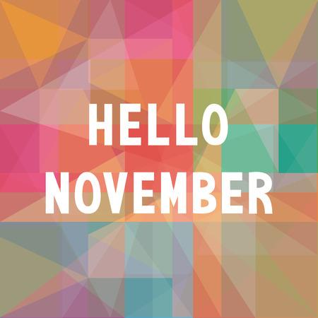 Hello November card for greeting. Illustration