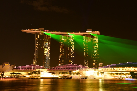 marina bay sand: SINGAPORE - JANUARY 3 : Nightscape of Singapore Marina Bay Sand on January 3, 2015 in Singapore. Marina Bay Sands is billed as the world\\