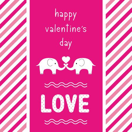 happy valentine s day: Elephant couple say happy valentine s day.