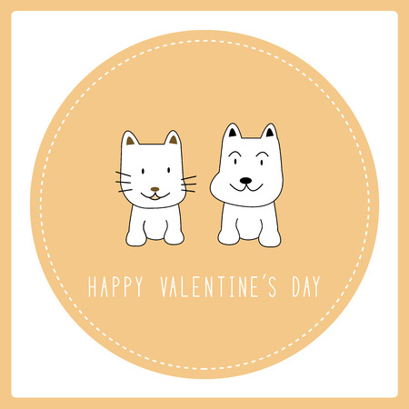 Dog and cat in love. Card for valentine day. Illustration