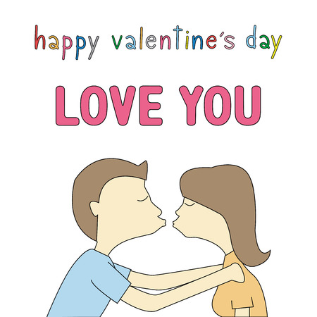 valentine s day: Boy and girl are kissing. Card for valentine s day.