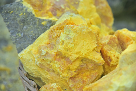 Sulfur from Kawah Ijen volcano crater, East Java, Indonesia.