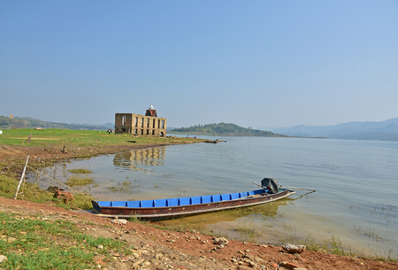 vestige: SANGKHLABURI-KANCHANABURI, THAILAND - MARCH 30 Sunken Temple is the last remaining vestige of the old town flooded for the creation of Khao Laem Reservoir on March 30, 2015 in Sangkhlaburi, Kanchanaburi, Thailand.