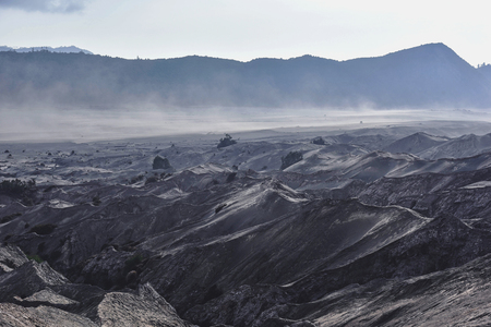 tengger: Layer Volcanic ash as sand ground of Mount Bromo volcano the magnificent view of Mt. Bromo located in Bromo Tengger Semeru National Park, East Java, Indonesia.
