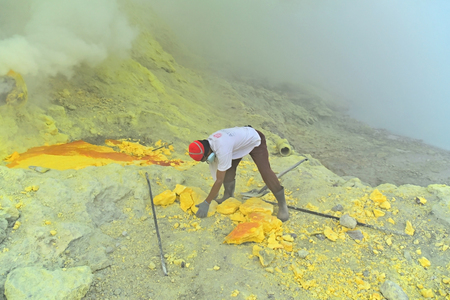gaseous: KAWAH IJEN, INDONESIA - OCT 18, 2015 : Worker carries sulfur sulphur inside Ijen crater in Ijen Volcano, Indonesia. Miners are extracting gaseous sulfur going out in the mine of the crater.
