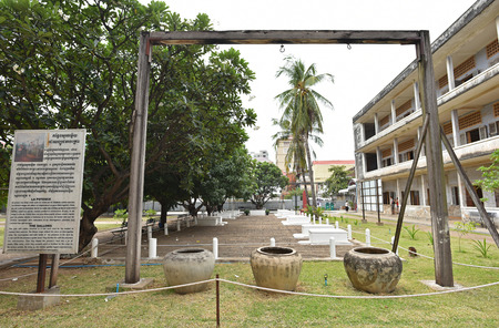 capital punishment: PHNOM PENH, CAMBODIA - JUL 08 : Tuol Sleng prison of the Khmer Rouge high school S-21 turned into a torture and execution center on July 08, 2015 in Phnom Penh, Cambodia.