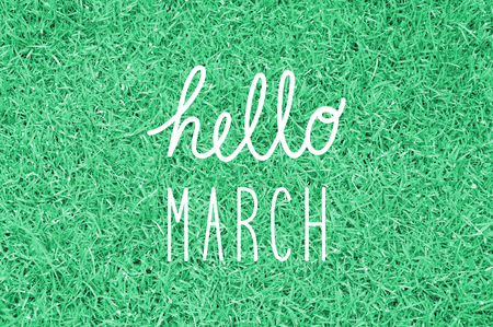 mar: Hello March greeting for decoration. Stock Photo
