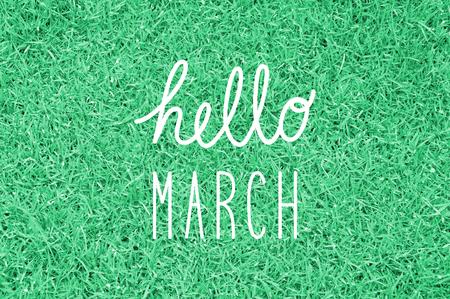 Hola saludo de marzo para la decoración.