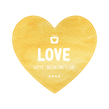yellow heart: Happy Valentine�s day lettering on yellow heart card. Illustration
