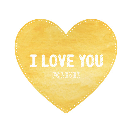 yellow heart: I love you lettering on yellow heart card.