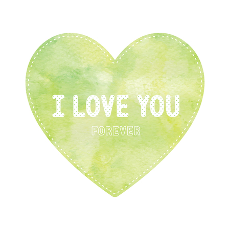 yellow heart: I love you lettering on green and yellow heart card. Illustration