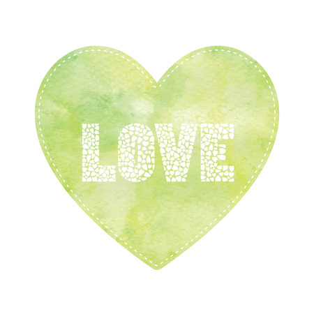 yellow heart: Love lettering on green and yellow heart card.