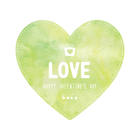 yellow heart: Happy Valentine�s day lettering on green and yellow heart card.
