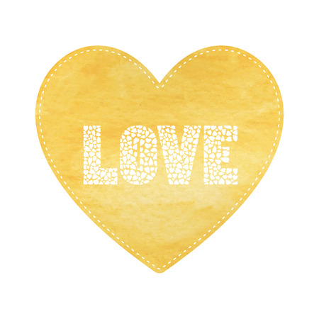 yellow heart: Love lettering on yellow heart card.