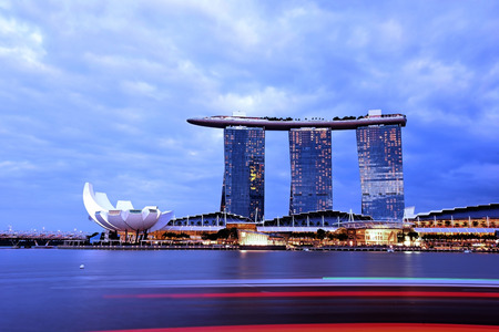 SINGAPORE - JANUARY 3 : Nightscape of Singapore Marina Bay Sand on January 3, 2015 in Singapore. Marina Bay Sands is billed as the worlds most expensive standalone casino property at S8 billion.