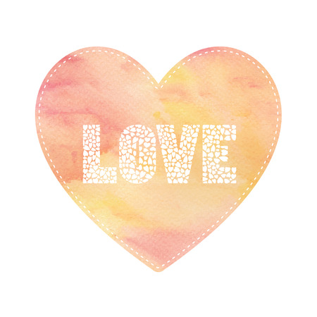 yellow heart: Love lettering on red and yellow heart card. Stock Photo