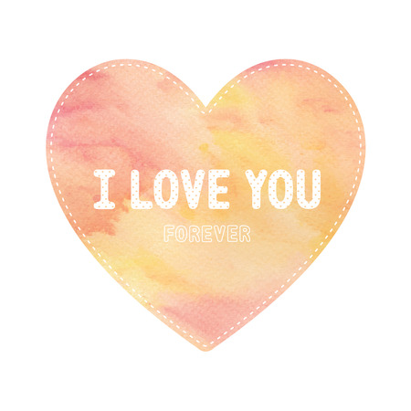 yellow heart: I love you lettering on red and yellow heart card. Stock Photo