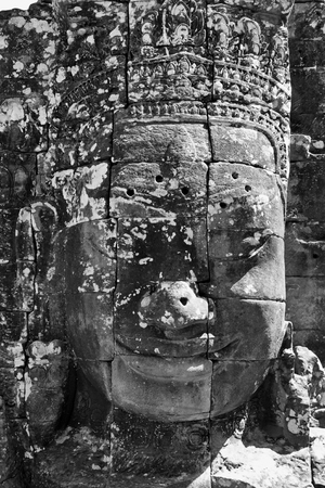 thom: Faces of Bayon temple in Angkor Thom, Siem Reap, Cambodia.