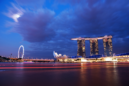 standalone: SINGAPORE - JANUARY 3 : Nightscape of Singapore Marina Bay Sand on January 3, 2015 in Singapore. Marina Bay Sands is billed as the worlds most expensive standalone casino property at S8 billion.