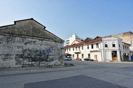 Georgetown, Penang, Malaysia - JULY 30, 2015 : Wire mural art in Penang Georgetown UNESCO heritage zone points out an important historical site on Victoria street. Sculpture by local artist. Editorial