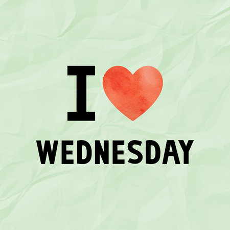 crinkle: I love Wednesday with red watercolor heart on green crinkle paper. Stock Photo