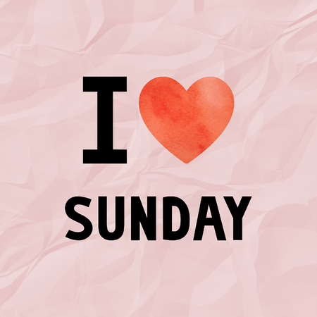 crinkle: I love Sunday with red watercolor heart on red crinkle paper.