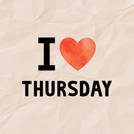 thursday: I love Thursday with red watercolor heart on orange crinkle paper. Stock Photo