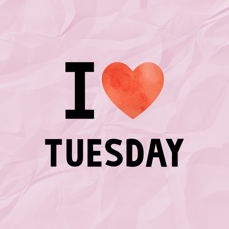 crinkle: I love Tuesday with red watercolor heart on pink crinkle paper.
