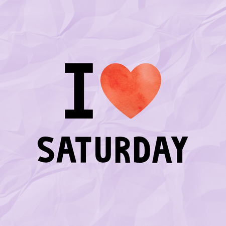 crinkle: I love Saturday with red watercolor heart on violet crinkle paper. Stock Photo