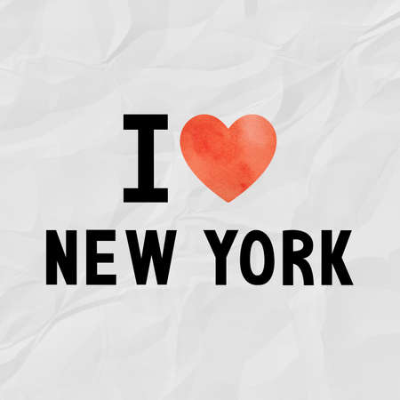 crinkle: I love New York with red watercolor heart on crinkle paper.