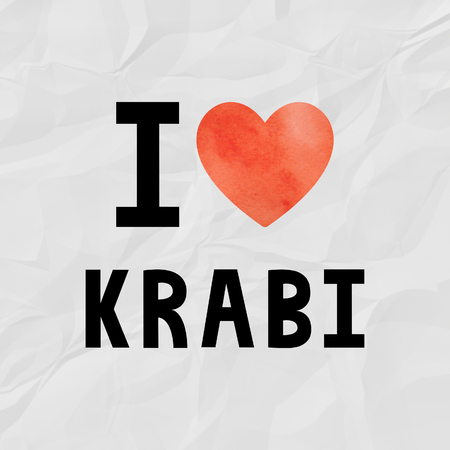 crinkle: I love Krabi with red watercolor heart on crinkle paper. Stock Photo