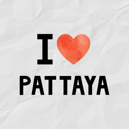 crinkle: I love Pattaya with red watercolor heart on crinkle paper.