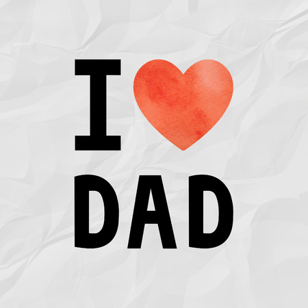 crinkle: I love dad with red watercolor heart on crinkle paper.