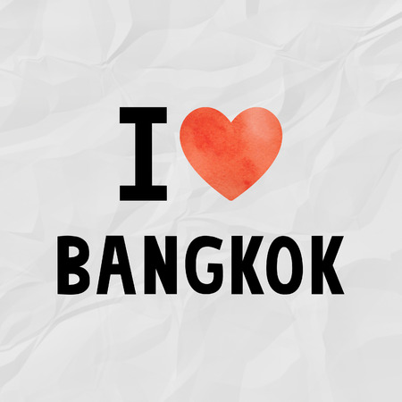 crinkle: I love Bangkok with red watercolor heart on crinkle paper.