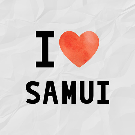 crinkle: I love Samui with red watercolor heart on crinkle paper. Stock Photo