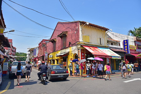 MELAKA, MALAYSIA - AUGUST 01, 2015: Jonker Street is the centre street of Chinatown in Malacca. It was listed as a UNESCO World Heritage Site on 7 July 2008. Editorial