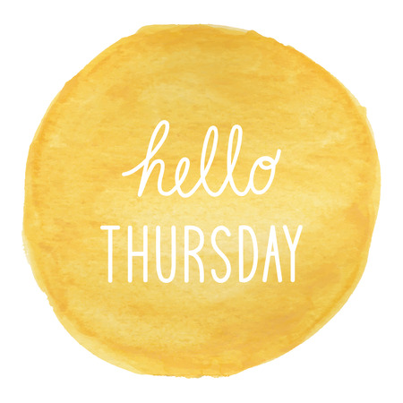 thursday: Hello Thursday greeting on yellow watercolor background. Stock Photo
