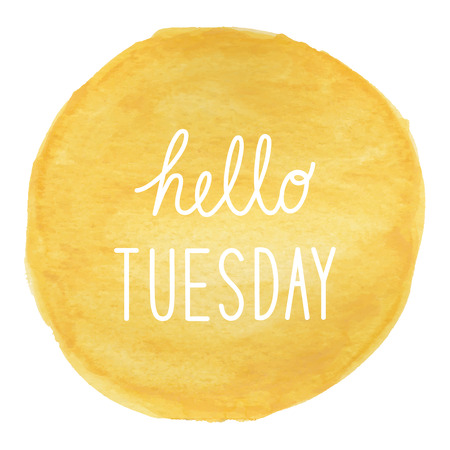 tuesday: Hello Tuesday greeting on yellow watercolor background. Stock Photo