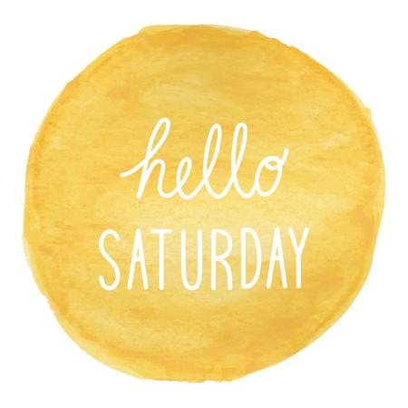 Hola Sábado saludo en fondo amarillo acuarela.