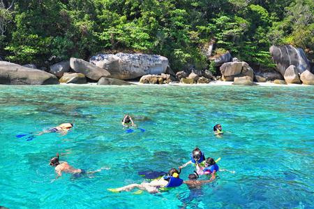 PHANG-NGA, THAILAND - JANUARY 7: Tourists snorkeling at Skull Island (No.7 Island) on January 7, 2016 in Similan national park, Phang Nga, Thailand. Editorial