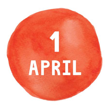 april: 1 April on watercolor calendar card.