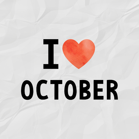 crinkle: I love October with red watercolor heart on crinkle paper.