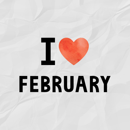 crinkle: I love February with red watercolor heart on crinkle paper. Stock Photo