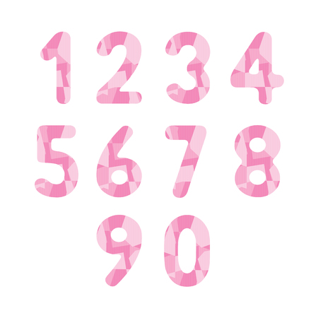 numbers abstract: Abstract pink numbers for design. Illustration