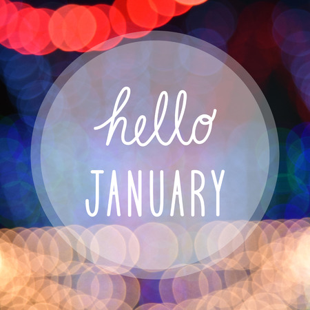 Hello January greeting on bokeh lights in night background. Stock Photo