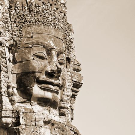 sepia toning: Face of Bayon temple in Angkor Thom, Siem Reap, Cambodia. Sepia toning. Stock Photo